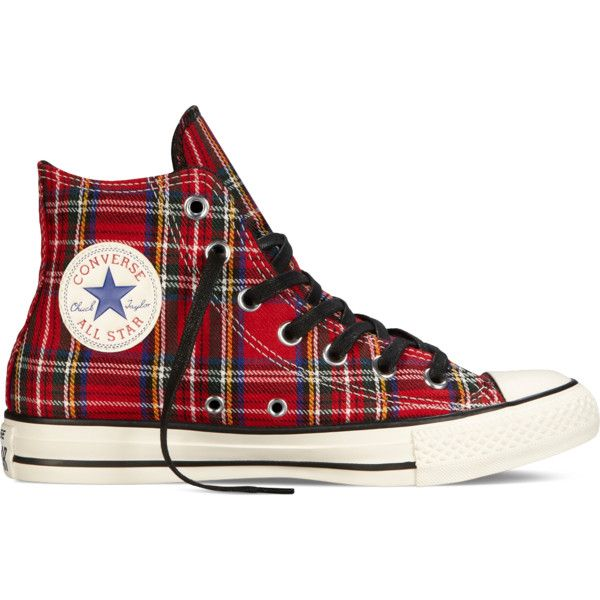 Converse Chuck Taylor All Star Tartan Plaid – high risk/egret/black... ($45) ❤ liked on Polyvore featuring shoes, sneakers, converse, plaid, trainers, tartan shoes, black trainers, converse trainers, star sneakers and star shoes