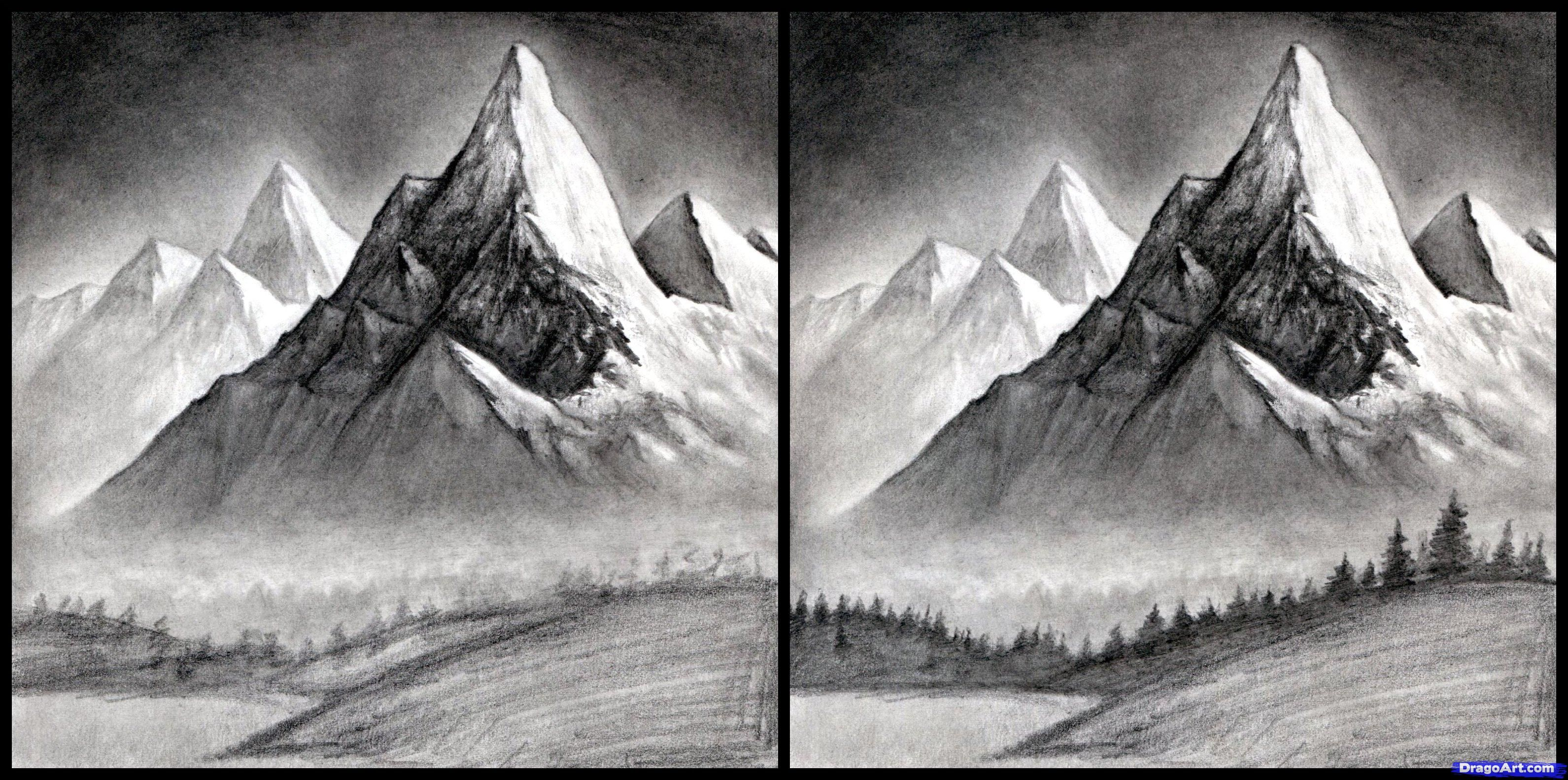 Draw Realistic Landscape Mountains Step 14 Love Diy In 2019