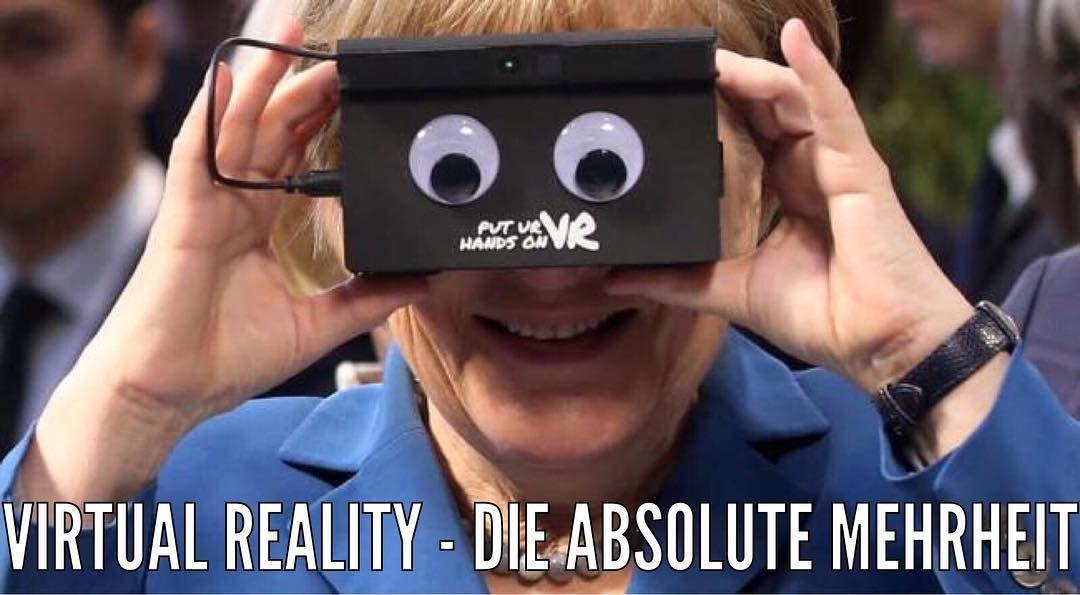 Mit #VirtualReality ist einfach alles möglich   #AngelaMerkel #Merkel #VR #VRBrille #MuttiDerNation #Bundeskanzlerin #CDU #AbsoluteMehrheit #Mehrheit #SpaßMussSein by evo2k - Shop VR at VirtualRealityDen.com