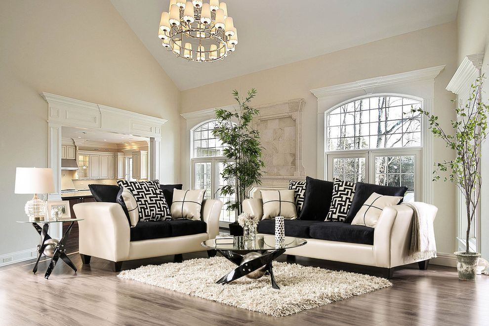 Kaelyn Cream Black Sofa Sm4070 Furniture Of America Fabric Sofas In 2021 Ivory Living Room Black And Cream Living Room Black Living Room