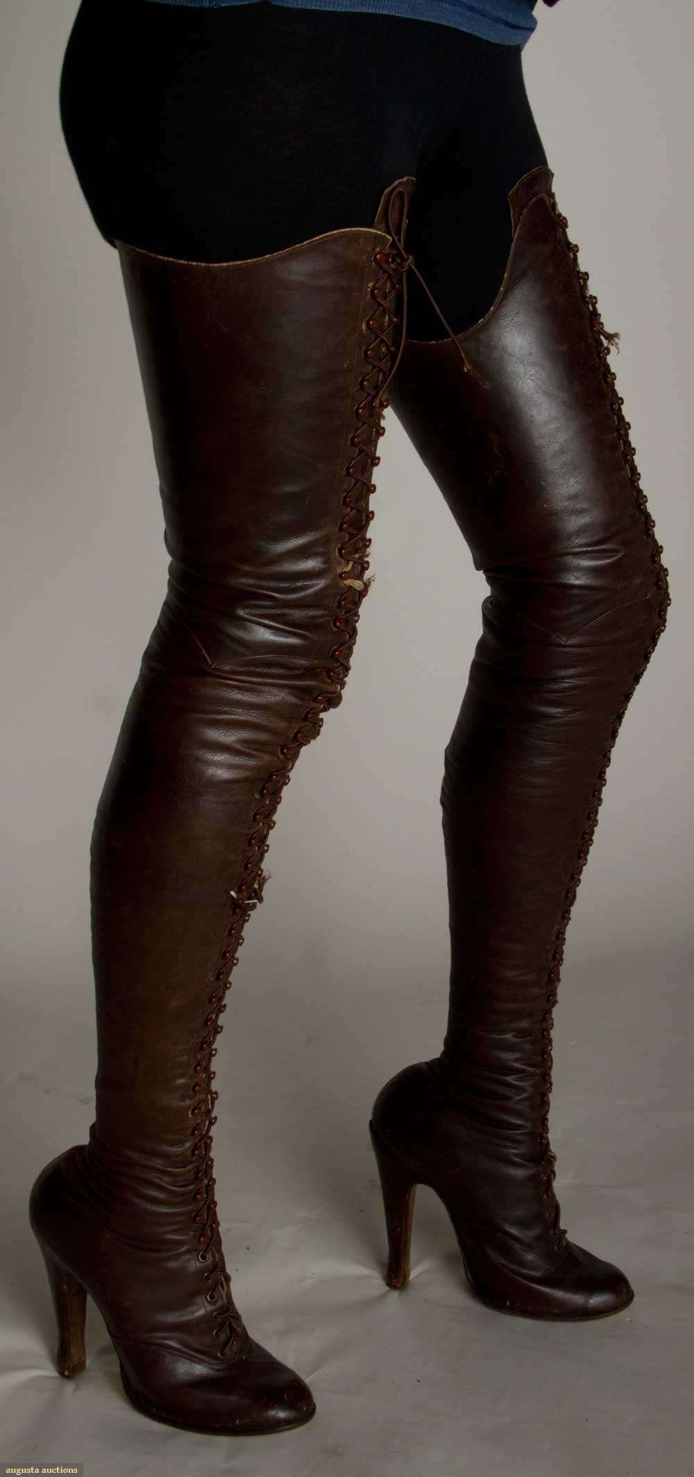 c1890 ladies leather fetish thigh high lace up boots with