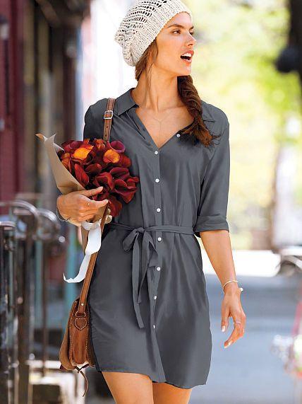 Woven Shirt Dress (Medium Plaid)