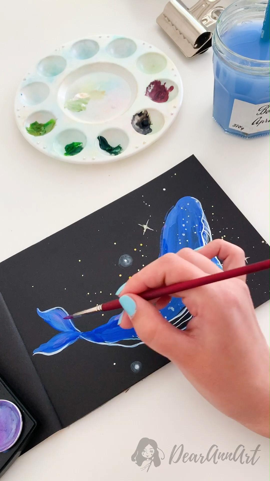 Blue Whale Gouache Painting Process
