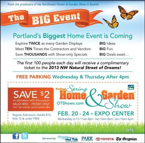 Discount Coupon Portland Spring Home And Garden Show 2013 @HBA Shows