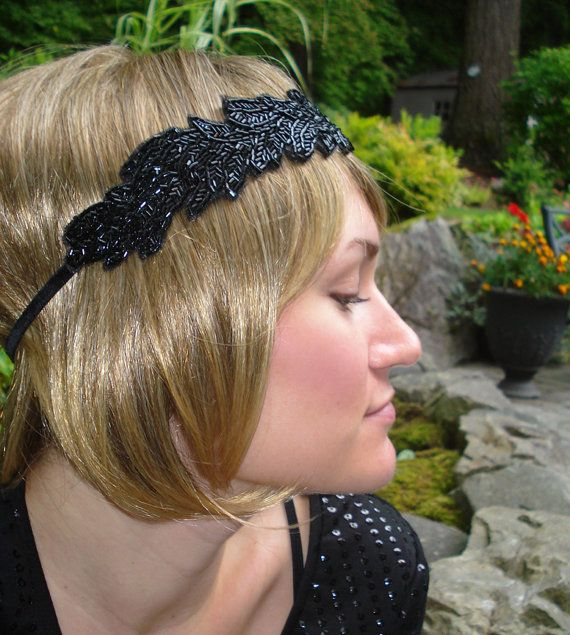 Black beaded 1920's Inspired Headpiece by KatieLynnChic on Etsy, $89.00