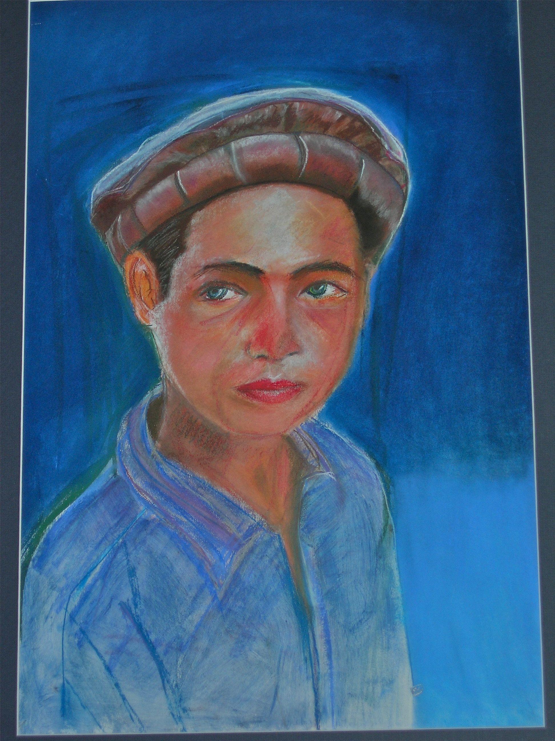 Portrait réalisé au pastel sec .