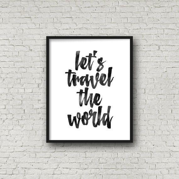 wir reisen um die welt reise poster print aquarell inspirierende poster schwarzwei zitat. Black Bedroom Furniture Sets. Home Design Ideas