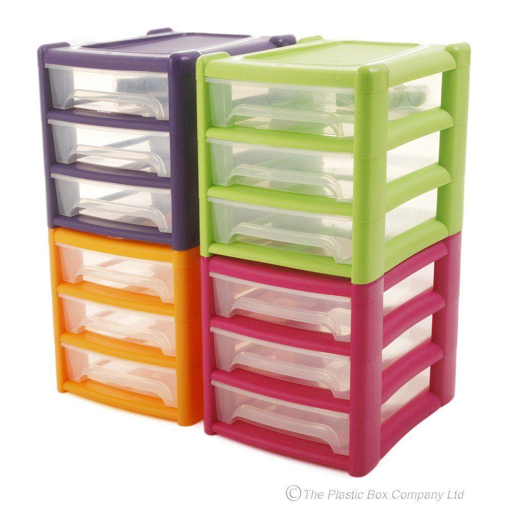 Shallow Plastic Three Drawer Unit Drawer Storage Unit Desktop