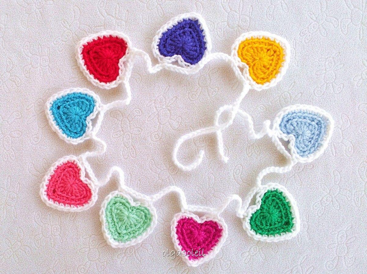 Guirnalda de corazones | Tejidos | Pinterest | Guirnalda de corazón ...