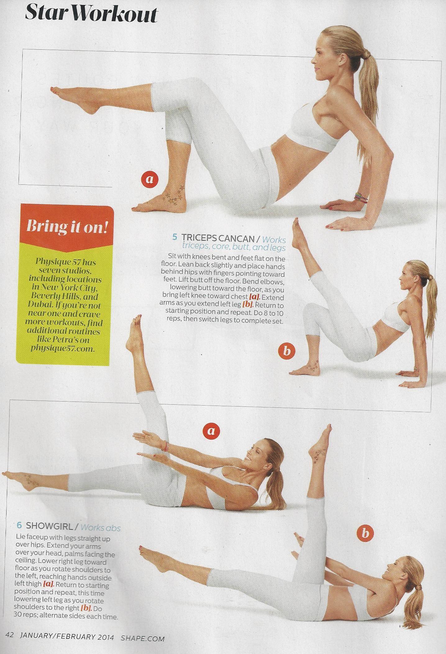 Model Petra Nemcova Physique 57 workout as seen in Shape