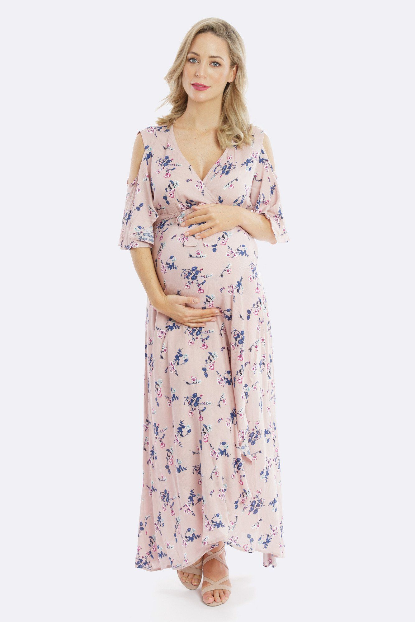 d5bcc706beb31 Aria Cold Shoulder Maternity Wrap Dress - Blossom – Maive & Bo   My ...
