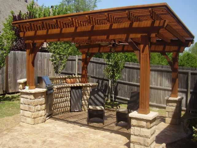 Detached wood patio covers simple house awnings shades for Detached covered patio plans