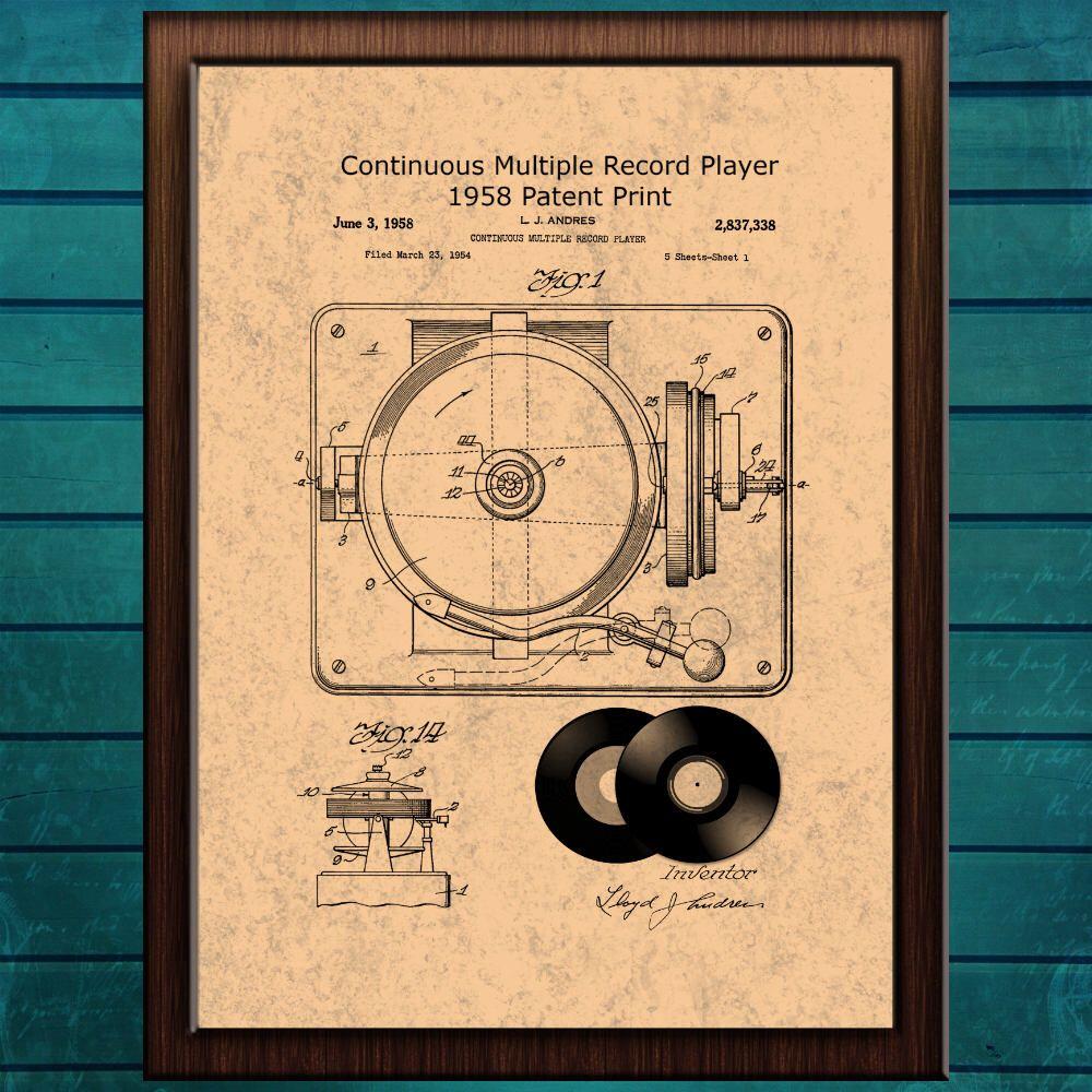 Record Player Print, Patent Art Print, Music Wall Art, Vinyl Record ...