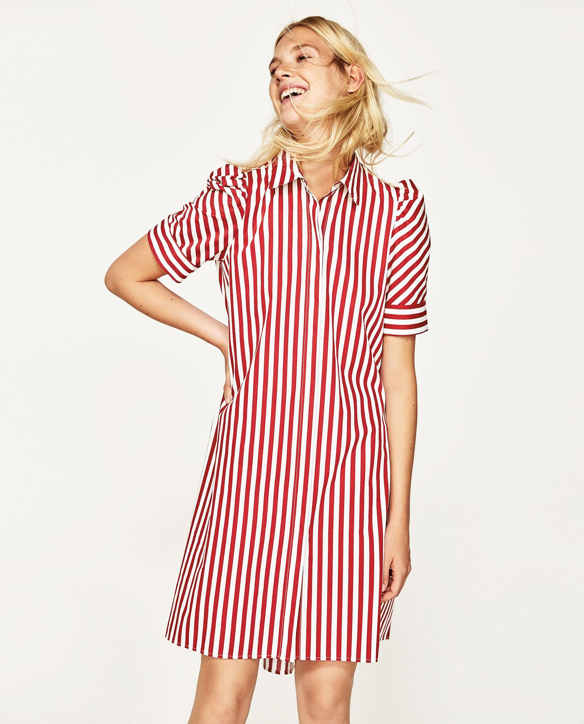 Buy Zara Women\'s Red Striped Shirt-style Tunic, starting at €30 ...