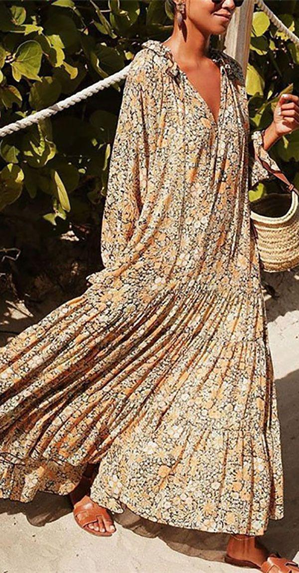 Hot Sale 2020 Trendy Vacation Printed Maxi Dress – Dress