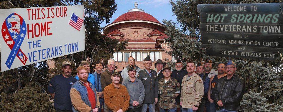 Veterans in front of our va veterans home hot springs
