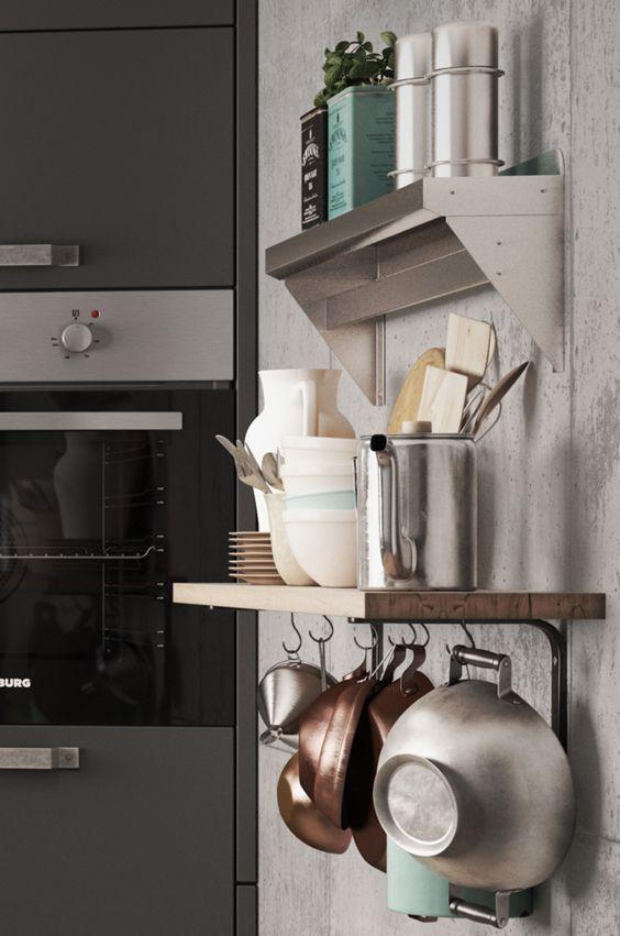 Im Foodtruck ist Platz oft Mangelware. Küchenregale mit Haken zum ...