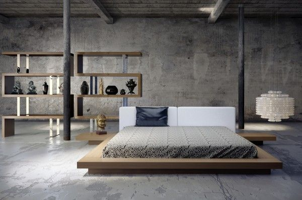 Sleek bedrooms with cool clean lines love the bed the shelf and especially the concrete wall