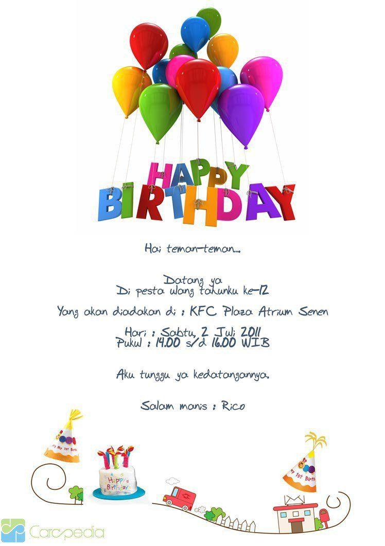 Contoh Invitation Card Birthday Dalam Bahasa Inggris Ulang Tahun Undangan Pesta Kartu Ulang Tahun