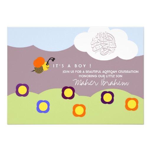 Islamic Aqiqah Aqeeqah Baby Bumble Bee Invitation Kids Aqiqah