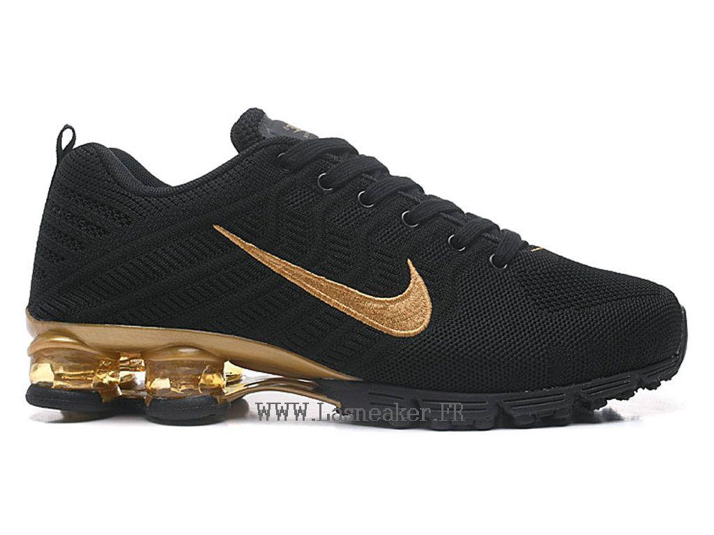 brand new a29a6 ff4b2 Nike Air Shox R4 Flyknit Chaussures de basketball Pas cher Homme Or Noir