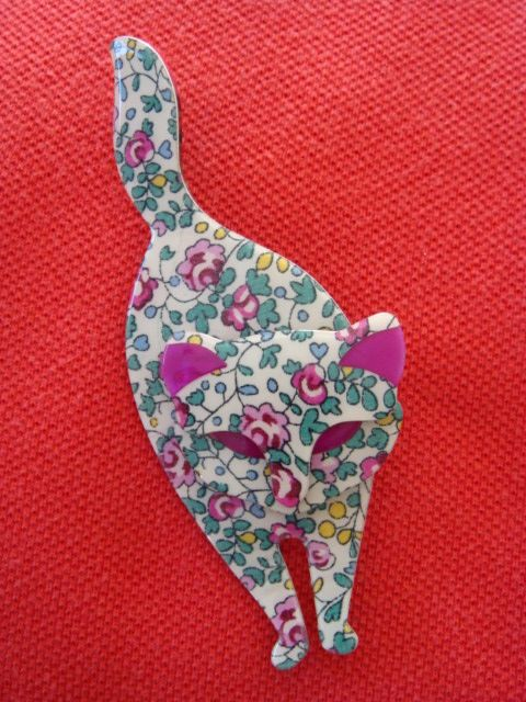 Attila - Floral Cat by Lea Stein of Paris - Ditsy Floral Prints with Pink Ears and Eyes
