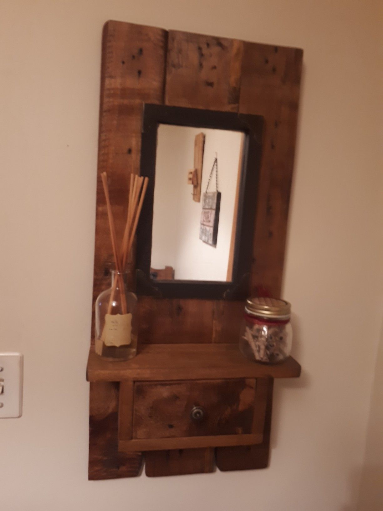 Rustic Mirror With Shelf And Drawer Mirrors Decor