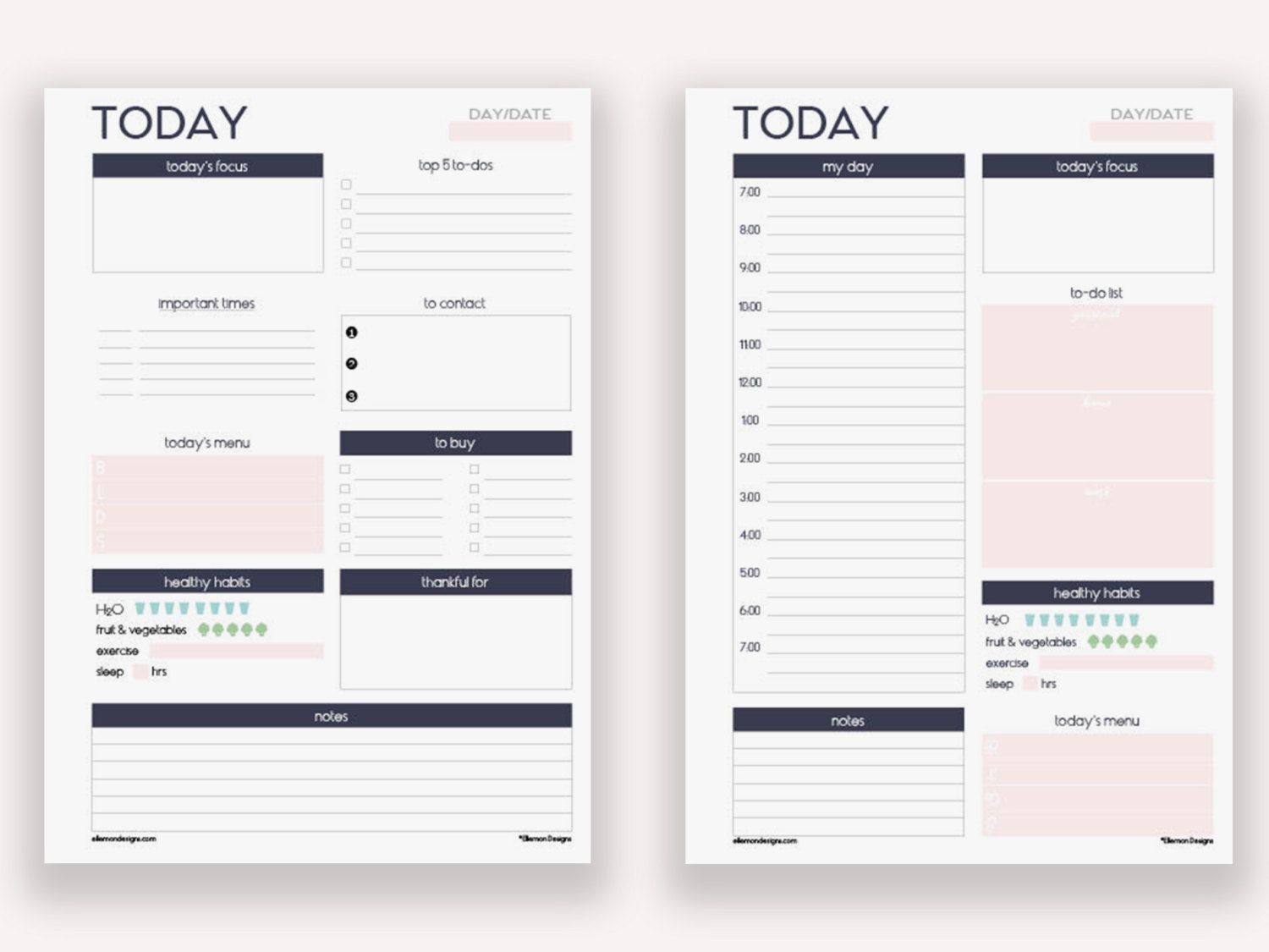 Two A5 Daily Planners Printable Inserts Refills (also fits kikki.k ...