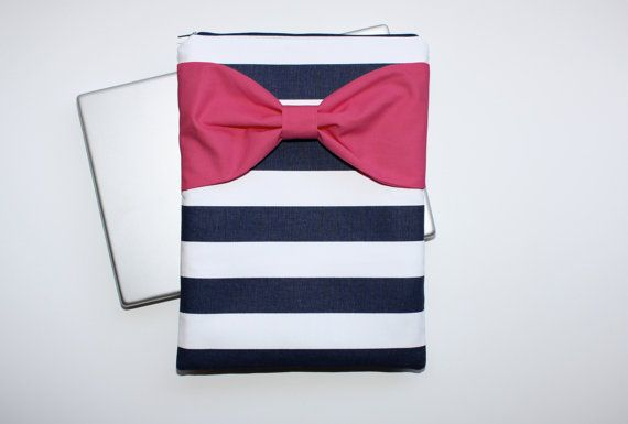 MacBook Pro / Air Case Laptop Sleeve - Navy Stripes Hot Pink Bow by AlmquistDesignStudio on Etsy