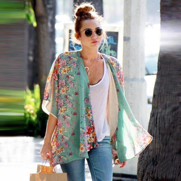 Women Floral Print Chiffon Shawl Kimono Cardigan Top Cover Up Shirt Jacket Coat