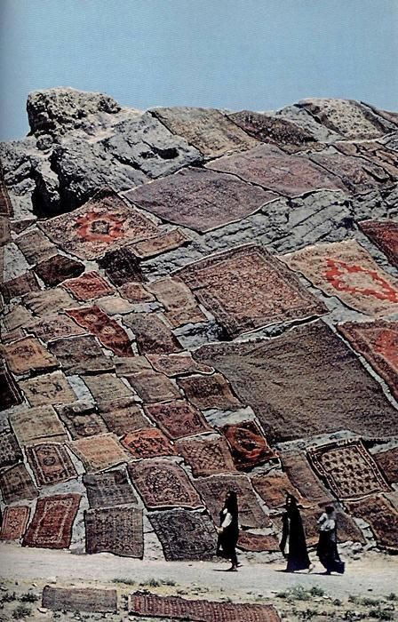 Persian Carpets Laid Out To Dry In The Traditional Way