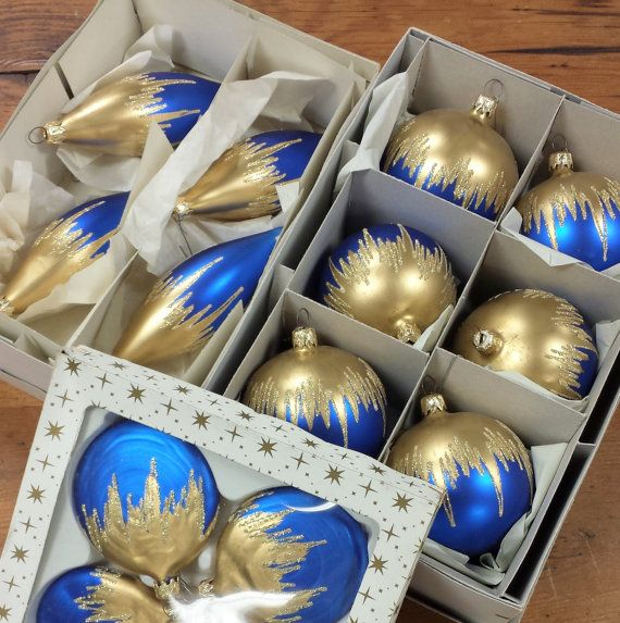 14 Mercury Glass Christmas Ornaments Made In Germany Royal Blue Gold Drip Mercury Glass Christmas Ornaments Mercury Glass Christmas How To Make Ornaments