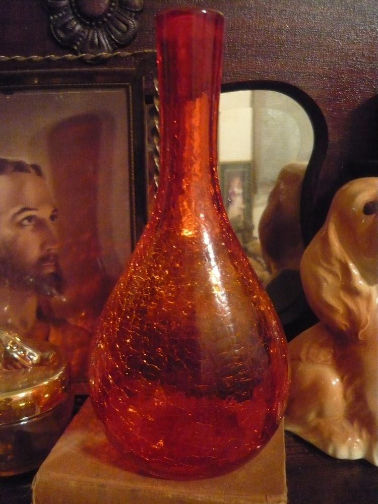 Vintage Hand Blown Blenko Orange Red Crackle Glass Decanter Vase