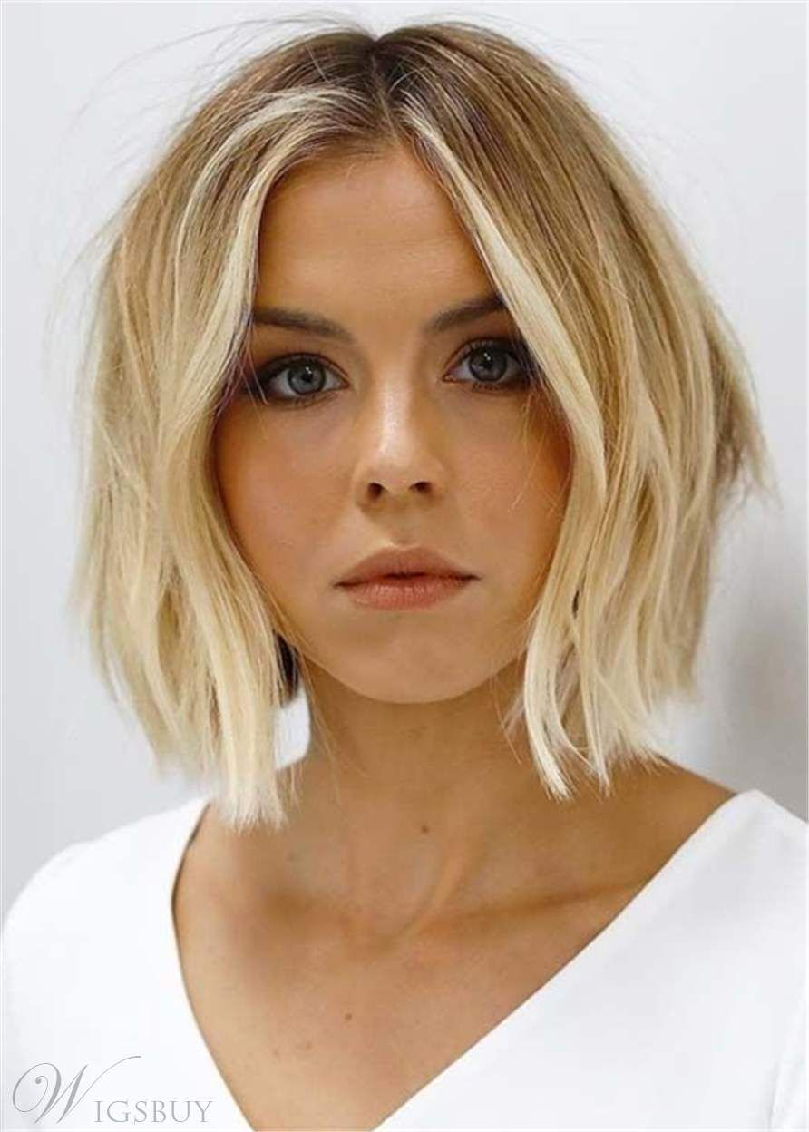 Short Bob Middle Parted Natural Straight Human Hair Wig Angled Bob Hairstyles Thick Hair Styles Hair Styles