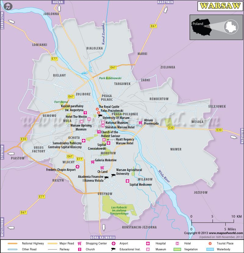 Capital Of Poland Map.Warsaw Map Showing Major Roads Shopping Centers Airports