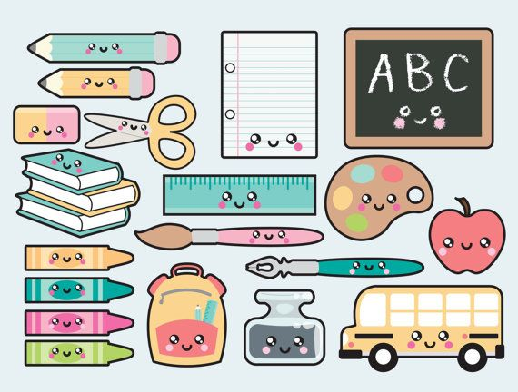 Premium Vector Clipart - Kawaii Back to School Clipart - Kawaii Clip Art - School Supplies clipart - High Quality Vectors - Kawaii Clipart