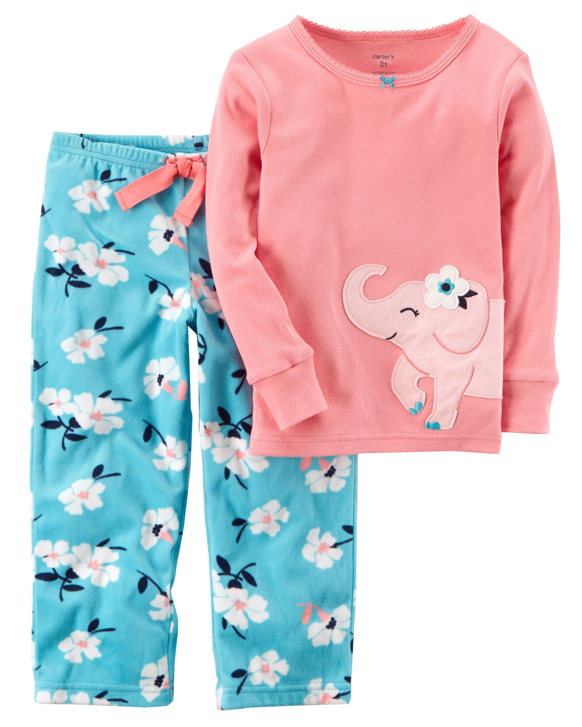 67785e395ab7 2-Piece Elephant Cotton   Fleece PJs