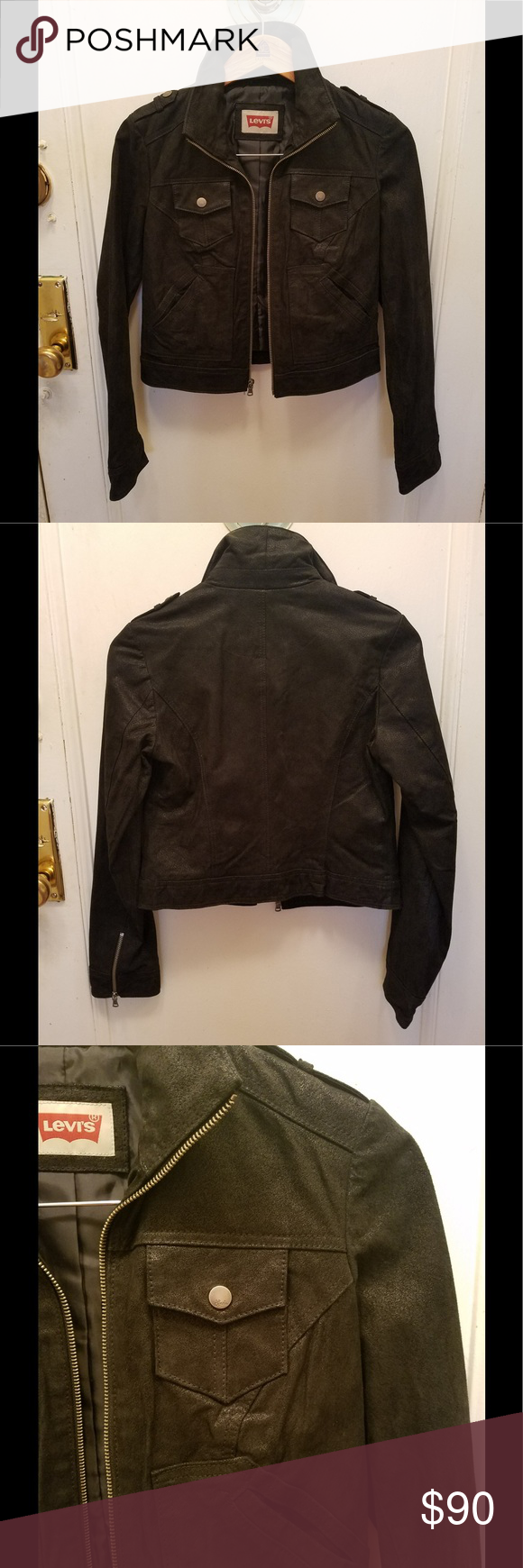 Levis genuine suede leather jacket size small (With images