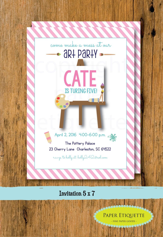 Art Party Birthday Invitation - Art Painting Birthday, Pottery Party ...