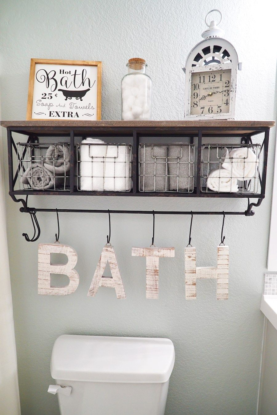 Full bathroom makeover with floors and paint sw sea salt for Bathroom hanging decorations