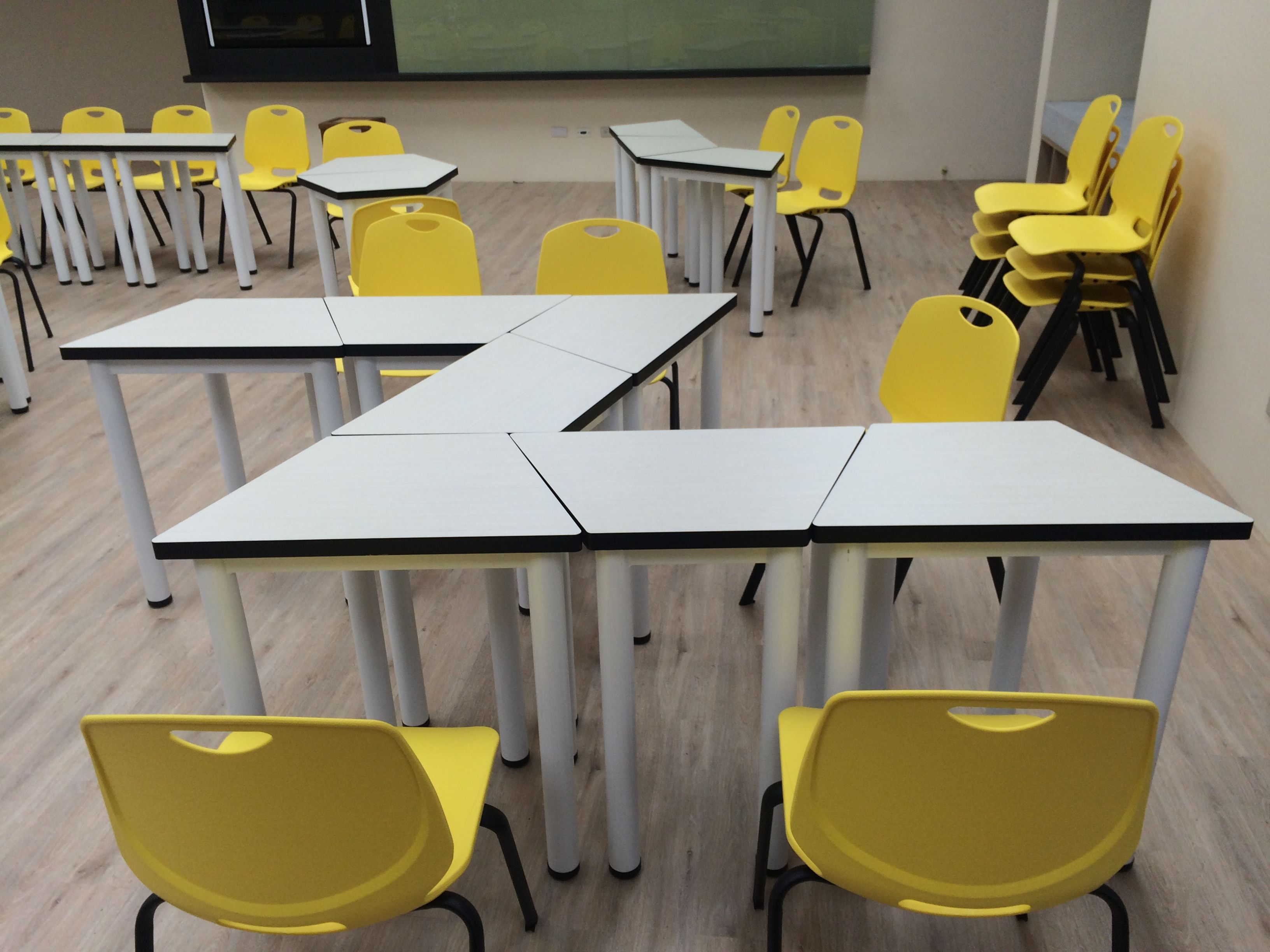 Pin by on trapezoid student tables modular seminar for Trapezoid table