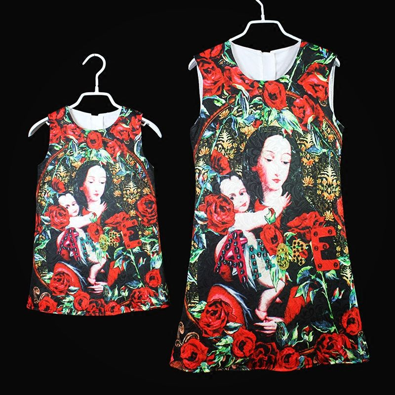European Amercian family look Blessed Virgin Mary black rose slim Sleeveless skirt women girls sundress mom and daughter dresses