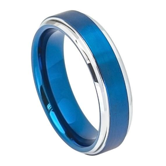 6mm Tungsten Wedding Ring Personalized Engrave Blue Ip Tungsten