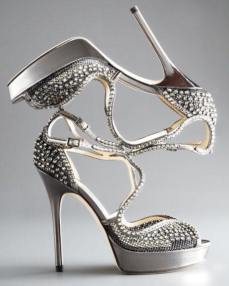 Jimmy Choo Gray Fairview Crystalmesh Platform Sandal €1,673 Shoes #Heels # Choos