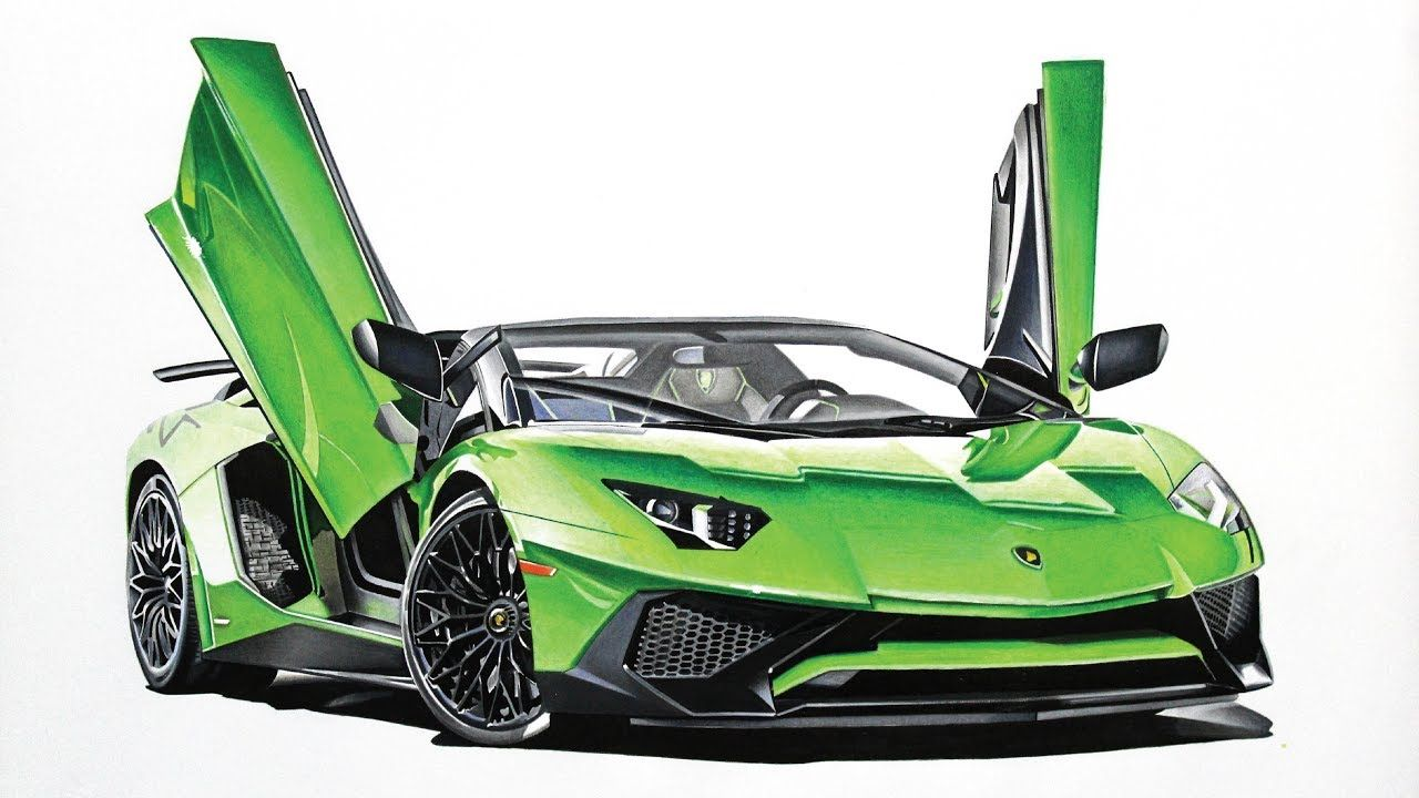 Lamborghini Aventador Sv Roadster Drawing Neon Green Luxury Car Photos Lamborghini Lamborghini Aventador
