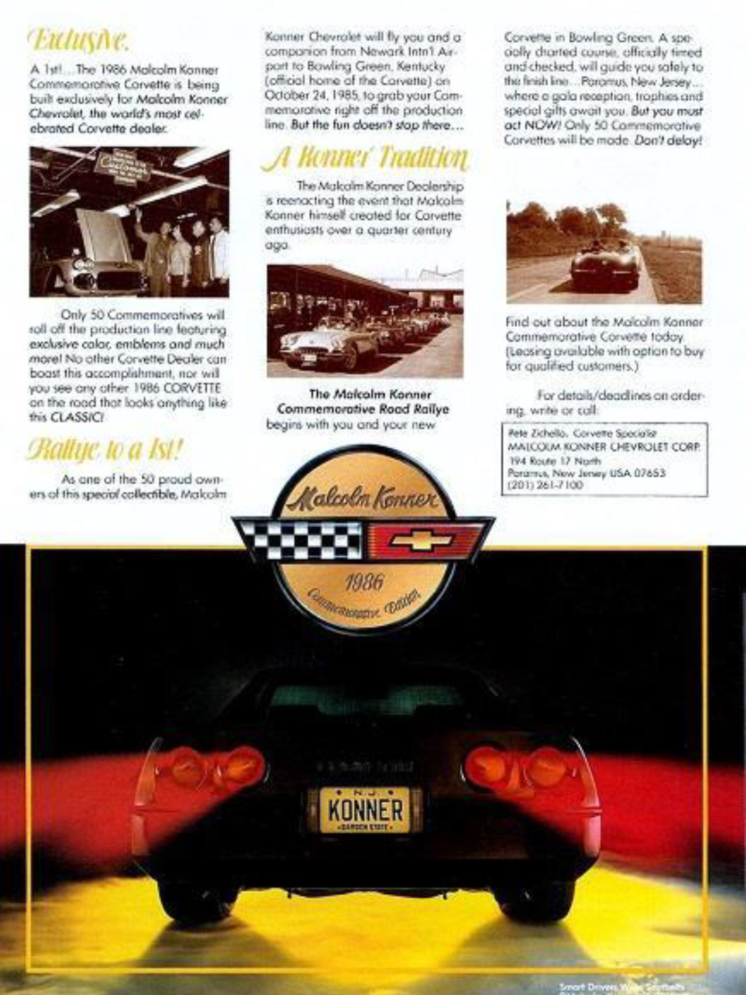 1986 Chevrolet Corvette Malcolm Konner Chevrolet Dealership Commemorative Edition Paramus New Jersey Rar Corvette Chevrolet Dealership Chevrolet Corvette