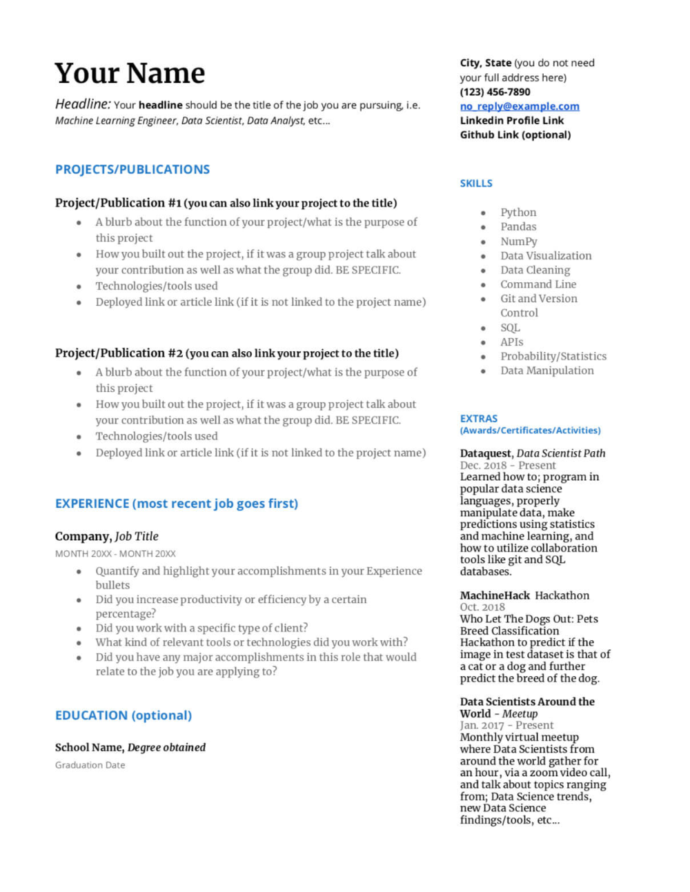 Resume Template Data Science 8 Templates Example Templates Example Blazer Hitam
