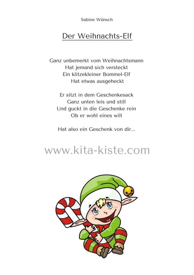 Gedicht Kindergarten Spruch Weihnachten Elfen Weihnachts Elf Reime Weihnachten Spruch Gedicht Weihnachten
