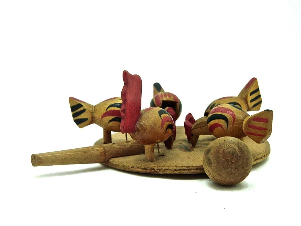 1960 toys images  Vintage Japanese Pecking Chickens Paddle Toy    Mingei Arts