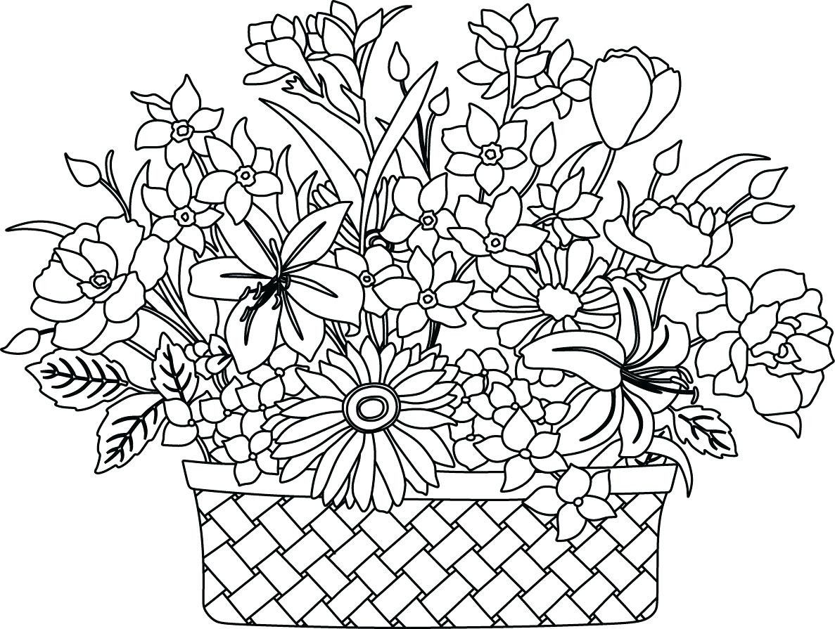 Printable Flower Bouquet Coloring Pages 7 F Coloring Bouquet